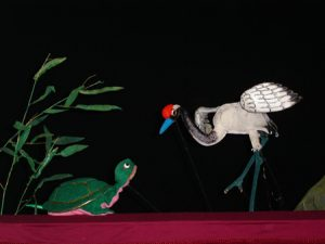 Turtle and crane puppets